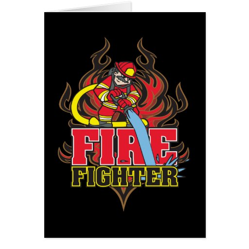 Firefighter Flames Greeting Cards
