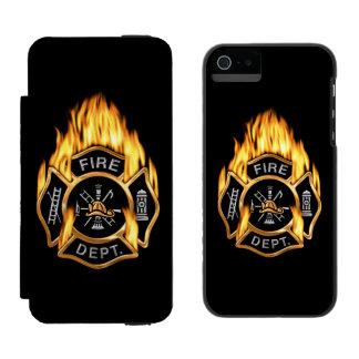 Firefighter Flaming Gold Badge Incipio Watson™ iPhone 5 Wallet Case