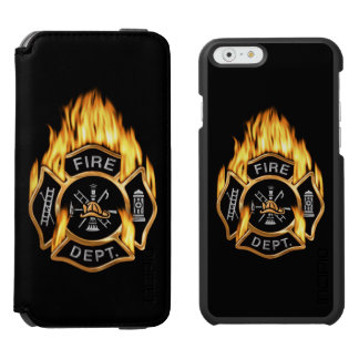 Firefighter Flaming Gold Badge Incipio Watson™ iPhone 6 Wallet Case