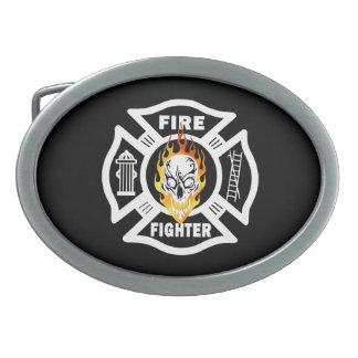 Firefighter Flaming Skull Oval Belt Buckle