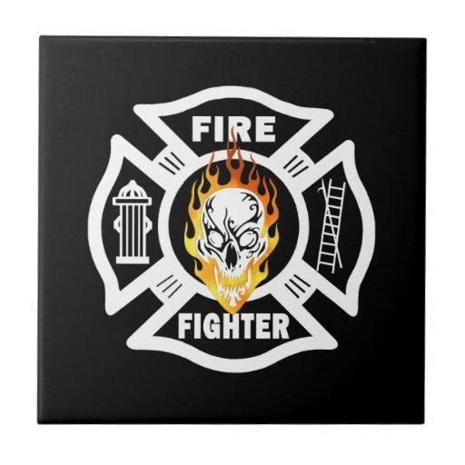 Firefighter Flaming Skull Tile