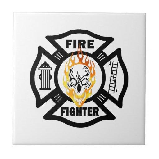 Firefighter Flaming Skull Tiles