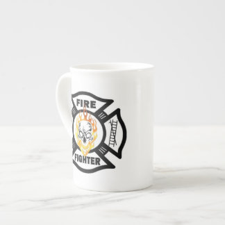 Firefighter Flaming Skulls Bone China Mug