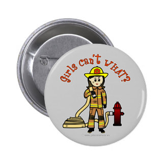 Firefighter Girl 6 Cm Round Badge