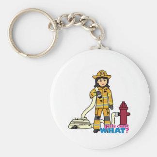 Firefighter Girl - Brunette Key Ring