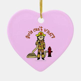 Firefighter Girl Ceramic Heart Decoration