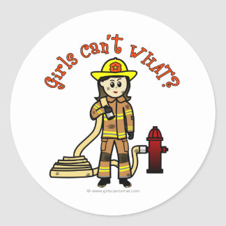 Firefighter Girl Classic Round Sticker