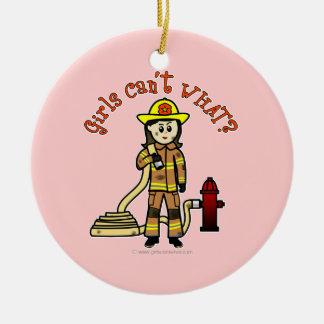 Firefighter Girl Round Ceramic Decoration