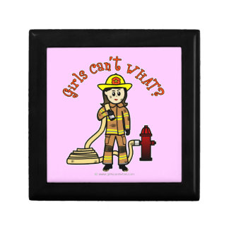Firefighter Girl Small Square Gift Box