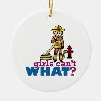 Firefighter Girls Round Ceramic Decoration