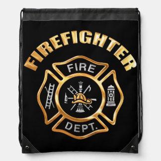 Firefighter Gold Drawstring Bag