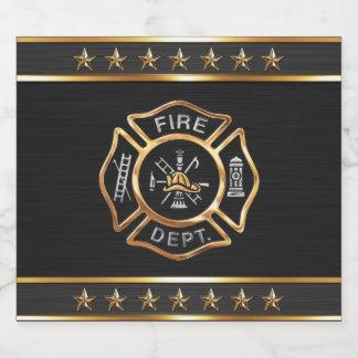 Firefighter Gold Emblem Beer Bottle Label
