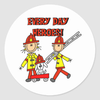 Firefighter Heroes Classic Round Sticker
