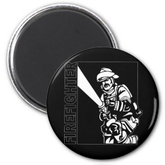 Firefighter in Black and White Magnet