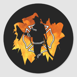 Firefighter IN Flames Classic Round Sticker
