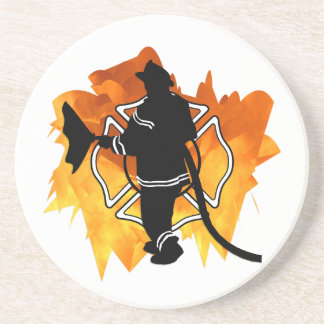 Firefighter In Flames Beverage Coasters