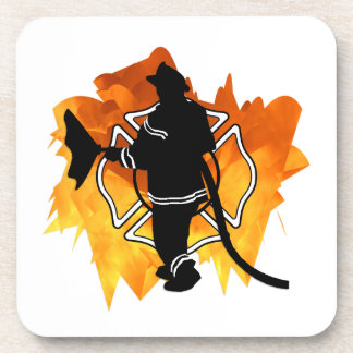 Firefighter In Flames Drink Coasters