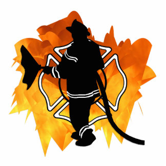 Firefighter IN Flames Cut Outs