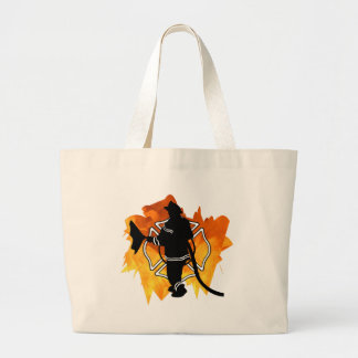 Firefighter IN Flames Large Tote Bag