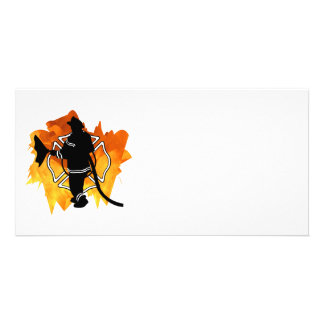 Firefighter In Flames Personalized Photo Card