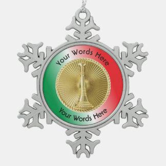 Firefighter Lieutenant Gold Medallion Snowflake Pewter Christmas Ornament