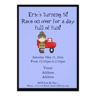 Firefighter, Little Red Fire Truck, Dalmatian 13 Cm X 18 Cm Invitation Card