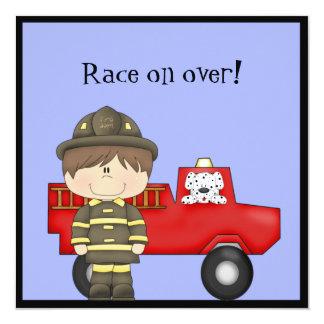 Firefighter, Little Red Fire Truck, Dalmatian 5.25x5.25 Square Paper Invitation Card