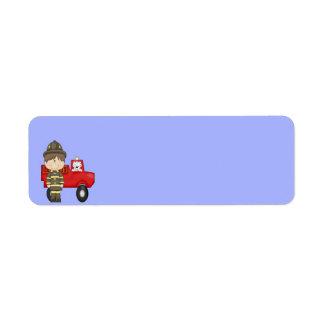 Firefighter, Little Red Fire Truck, Dalmatian Return Address Label