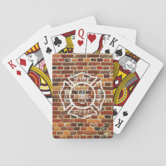 Firefighter Logo Brick Wall Playing Cards