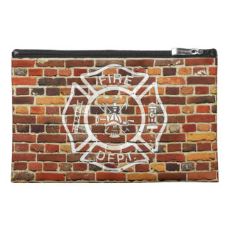 Firefighter Logo Brick Wall Travel Accessories Bag