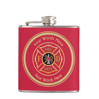 Firefighter Maltese Cross Rope Shield Universal Hip Flask