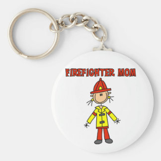 Firefighter Mom Tshirts and Gifts Basic Round Button Key Ring