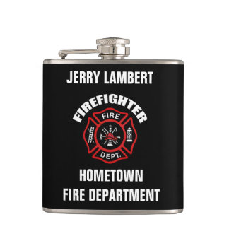 Firefighter Name Template Hip Flask