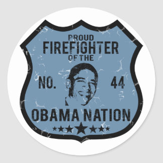 Firefighter Obama Nation Round Sticker