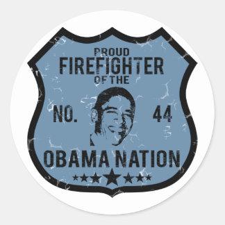 Firefighter Obama Nation Round Sticker