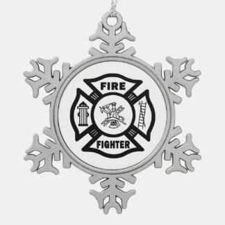 Firefighter Pewter Snowflake Decoration