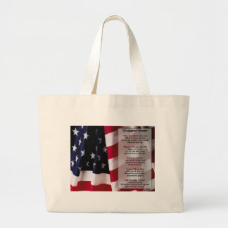 firefighter prayer black print large tote bag