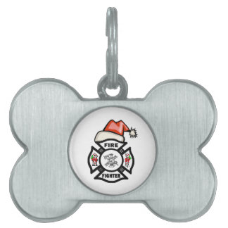 Firefighter Santa Claus Pet Tag