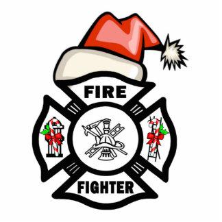Firefighter Santa Claus Photo Sculpture Decoration