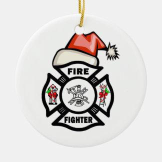 Firefighter Santa Claus Round Ceramic Decoration