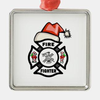 Firefighter Santa Claus Silver-Colored Square Decoration