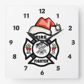 Firefighter Santa Claus Square Wall Clock