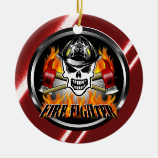 Firefighter Skull 2 and Flaming Axes Round Ceramic Decoration