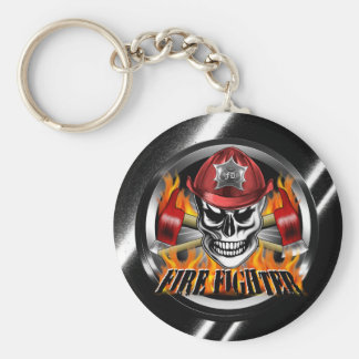 Firefighter Skull 4 and Flaming Axes Basic Round Button Key Ring
