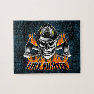 Firefighter Skull 4 and Flaming Axes Jigsaw Puzzle