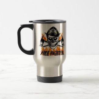 Firefighter Skull 4 and Flaming Axes Stainless Steel Travel Mug