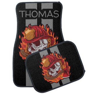 Firefighter Skull Grey Race Stripes Personalized Car Mat