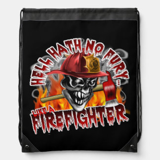Firefighter Skull: Hell Hath No Fury Drawstring Backpack