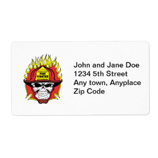 Firefighter Skull Shipping Label
