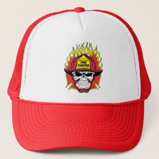 Firefighter Skull Trucker Hat
